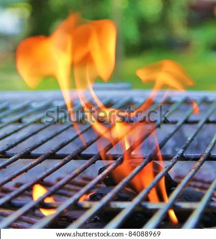 Flames on the Barbecue grill - stock photo