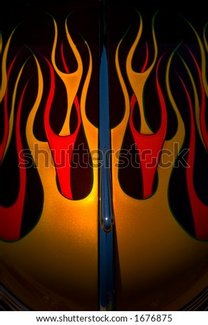 Flames on the Hood - stock photo