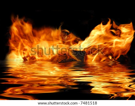Flames reflecting in water, on black background. - stock photo