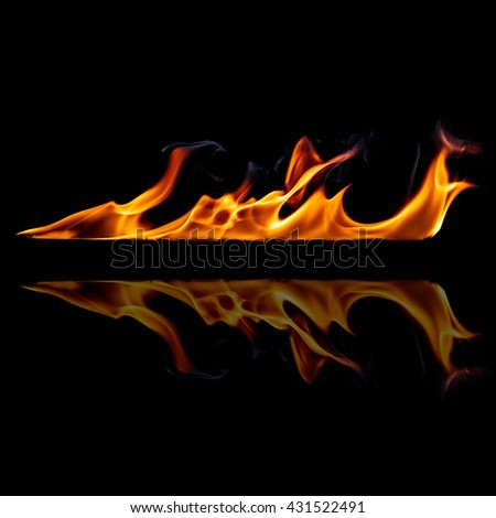flames with reflection on a black background