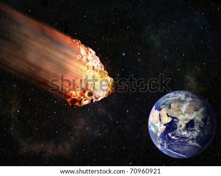flaming asteroid hitting earth illustration - stock photo