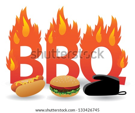 Flaming barbecue design element. JPG - stock photo
