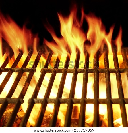 Flaming Barbeque  Hot  Grill Close-up Square Background Isolated On Black - stock photo