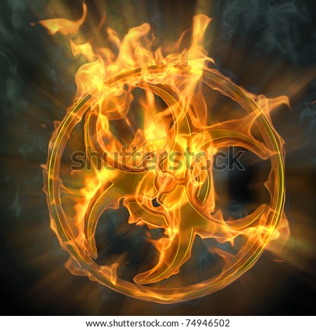 flaming biohazard sign. isolated on black. - stock photo