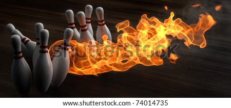 flaming bowling ball knocks down skittles. 3d illustration. - stock photo