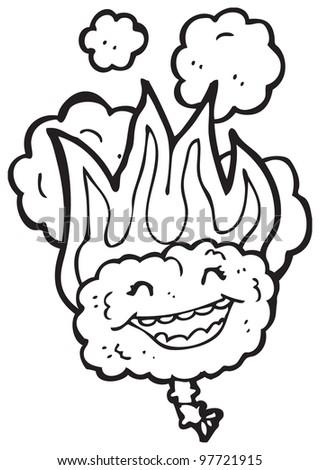 flaming brain cartoon - stock photo