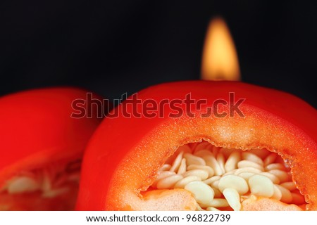 Flaming Cherry Peppers - stock photo