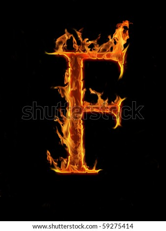 Flaming font, letter F - stock photo