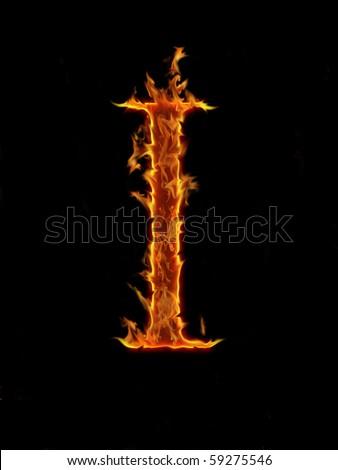 Flaming font, letter I - stock photo