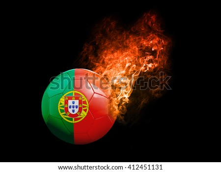 Flaming Football Ball on black background with team flags, Europe 2016. Group F, Portugal - stock photo