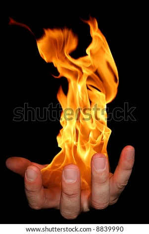 Flaming Hand - stock photo