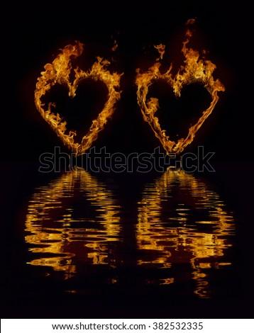 flaming heart - stock photo