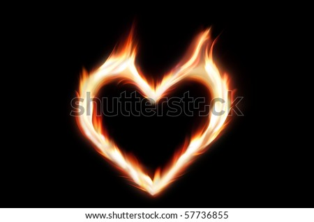Flaming Heart Fire Symbol Passionate Love Stock Photo Royalty Free