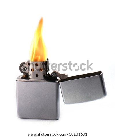Flaming lighter isolated on white background - stock photo