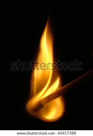 Flaming Match - stock photo