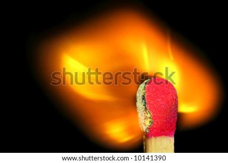 flaming match stick - stock photo