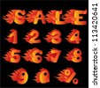 Flaming Numbers, percent symbol and word SALE. Raster version - stock photo