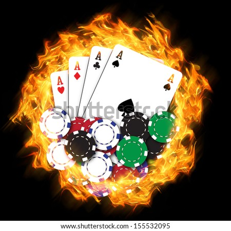 Flaming poker chips with cards - stock photo