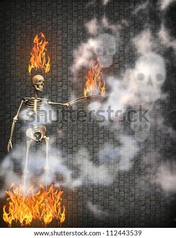 flaming skeleton with smoke skulls - stock photo