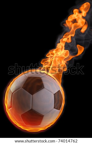 flaming soccer ball. isolated on black - stock photo