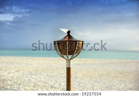 flaming torch on tropical beach - stock photo
