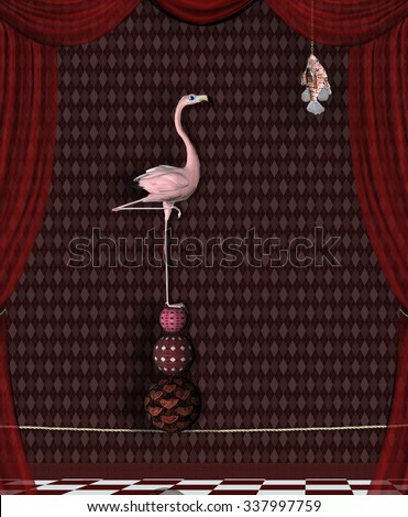 Flamingo and fish - Conceptual illustration about finding food - stock photo