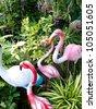 flamingo in garden - stock photo