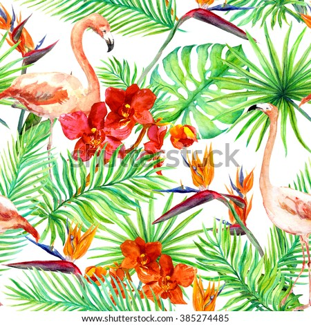 Flamingo, tropical leaves and exotic flowers. Seamless jungle pattern. Watercolor - stock photo