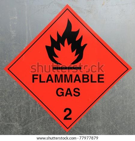 Flammable Gas Hazard Warning Sign - stock photo