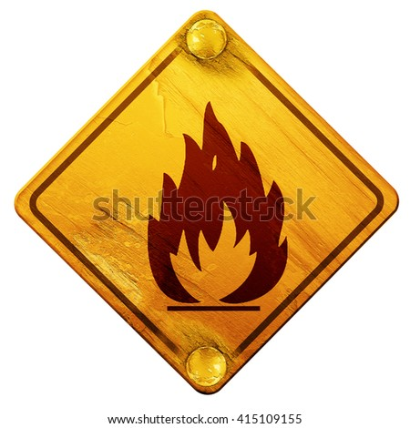 Flammable hazard sign, 3D rendering, isolated grunge yellow road - stock photo