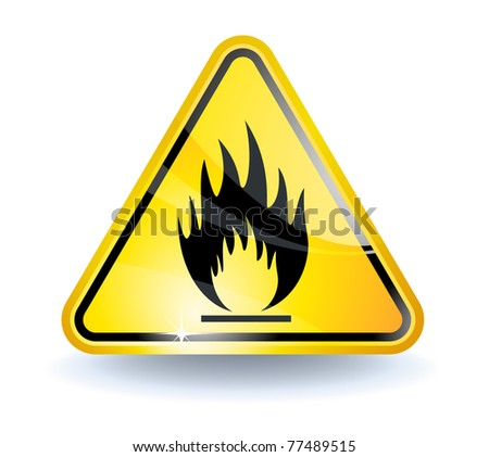 Flammable sign with glossy yellow surface - stock photo
