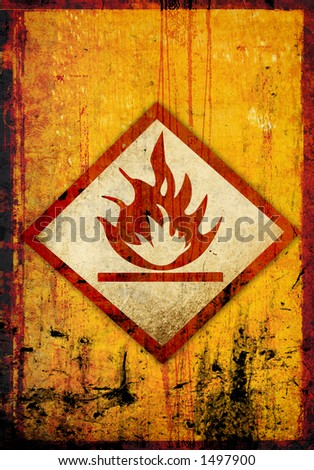 flammable symbol on a grunge background - stock photo