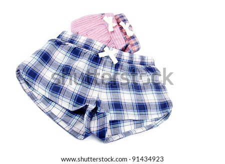 Flannel Pajamas Shorts Isolated on White
