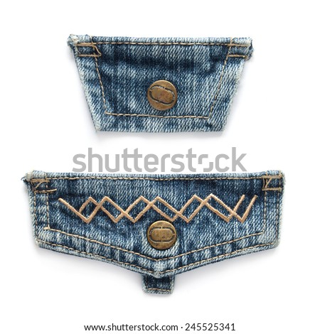 flap of pocket, elements of jeans - stock photo