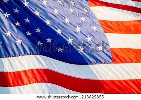 Flapping USA flag.   - stock photo