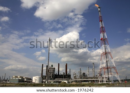 flare at a chemical plant (blue sky)