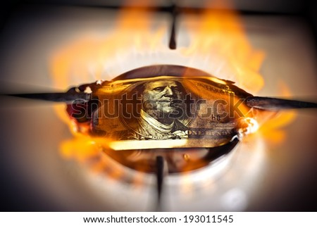 Flare natural gas and Dollar    - stock photo