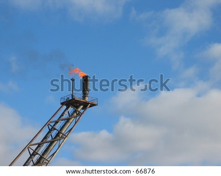 Flare on oil rig. - stock photo