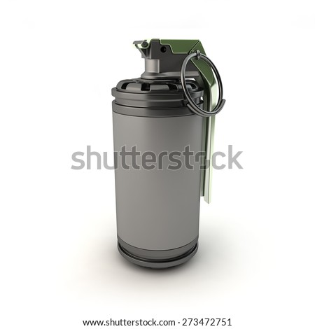 Flash Bang/Stun Grenade on a white background - stock photo