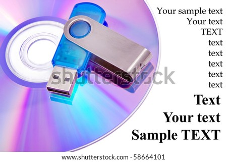 Flash card lying on a disk on a white background - stock photo
