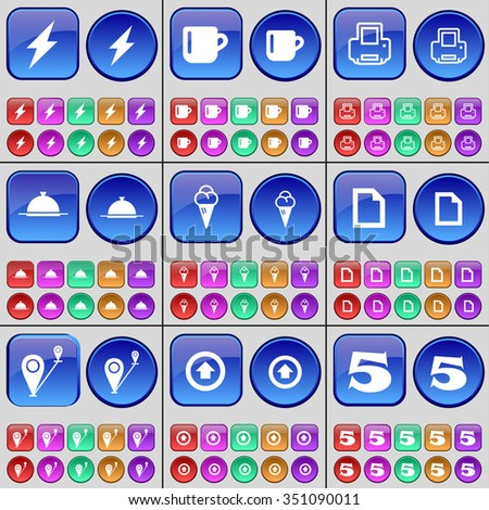 Flash, Cup, Printer, Tray, Icecream, File, Route, Arrow up, Five. A large set of multi-colored buttons. illustration - stock photo