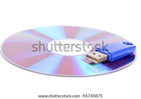 Flash disk and DVD - stock photo