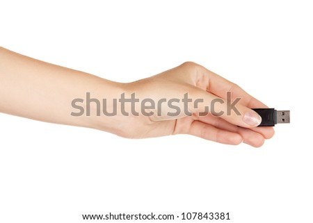 Flash drive in hand isolated on white background