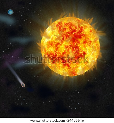 Flash in the sunshine. Look from space. - stock photo