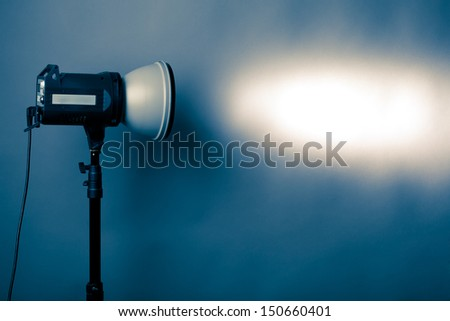 flash light projection on the wall - stock photo