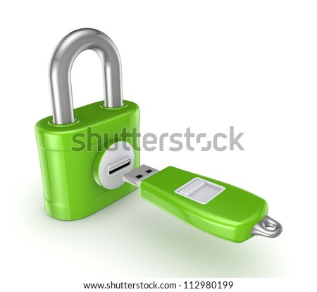 Flash memory connected to iron safe.Isolated on white background.3d rendered. - stock photo
