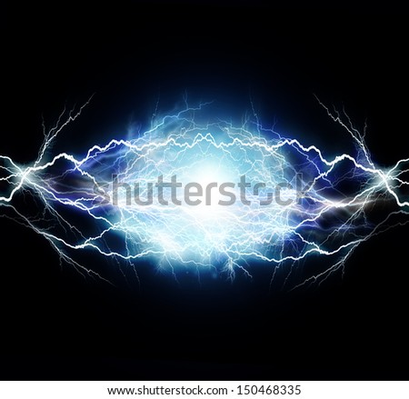 flash of electric light. - stock photo