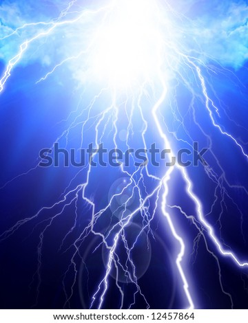 flash of lightning on a cloudy background - stock photo