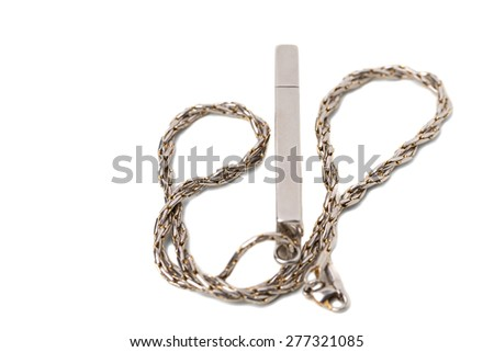 Flash usb drive with metallic chain. Macro. Isolated on a white background.