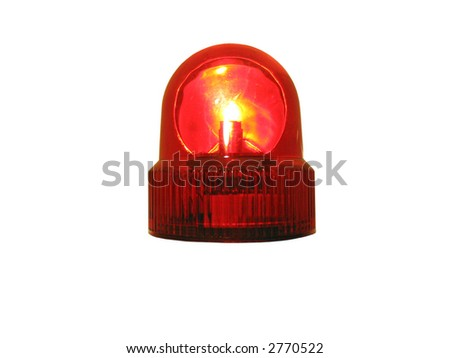 flashing red emergency light that is isolated on white - stock photo